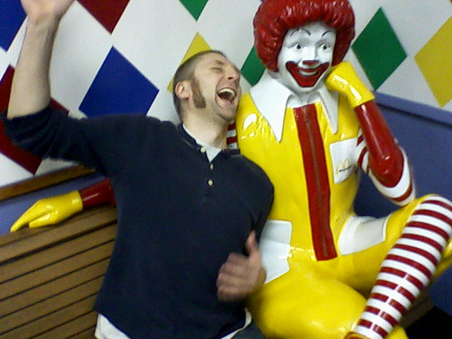 our editor chilling with ronald mcdonald
