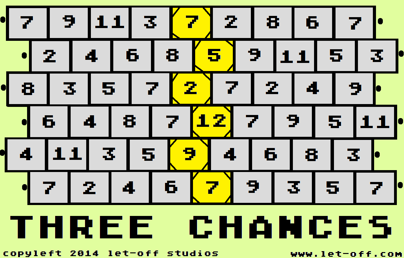three chances - game board